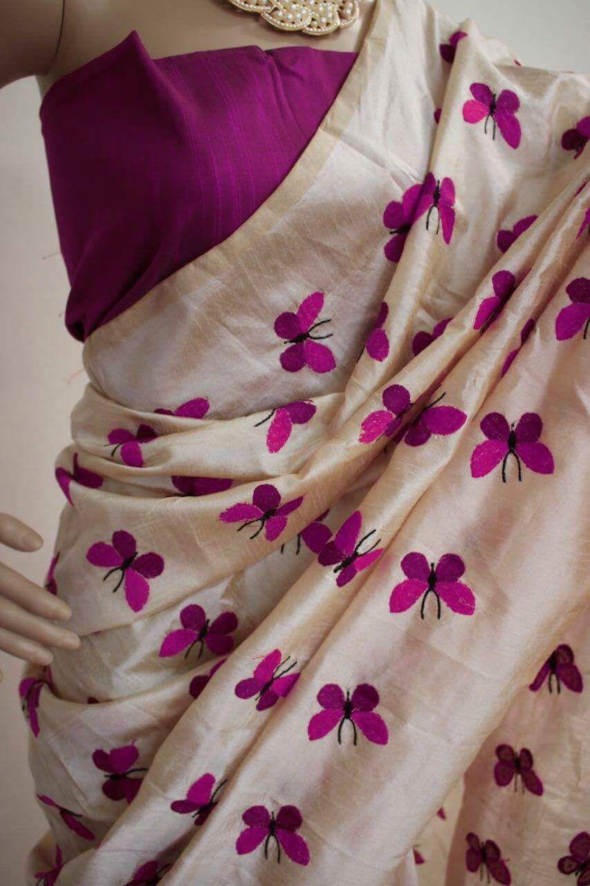 new designer zarna silk butterfly embroidered saree