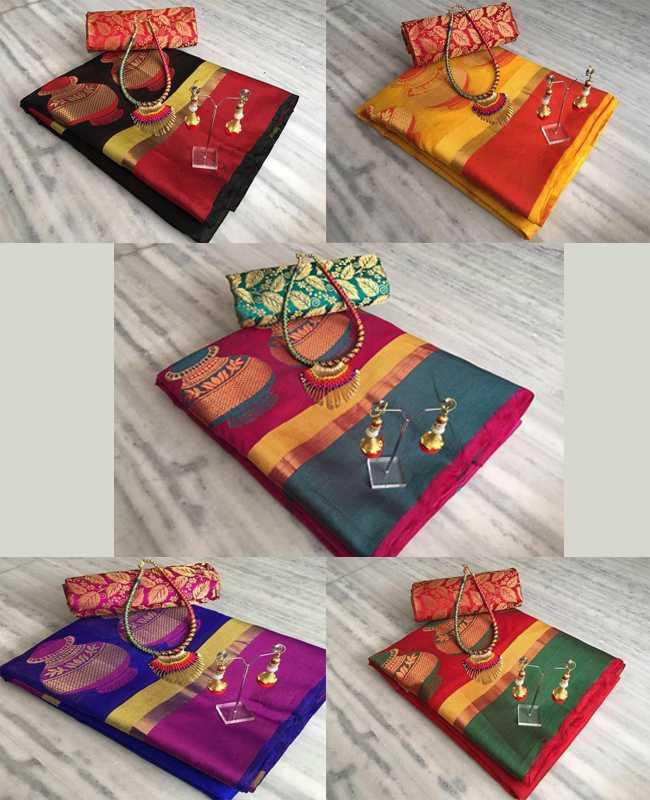 New Arrival Blue & Pink Cotton Silk Matka Designer Saree