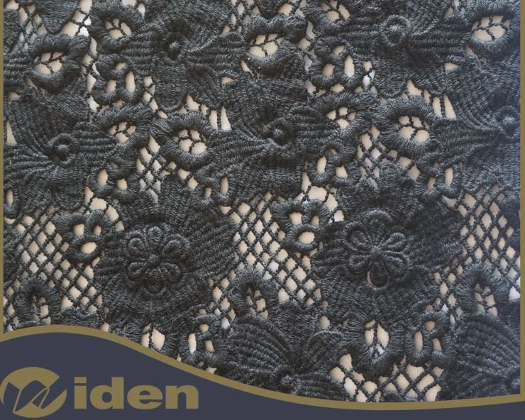 90CM Black Color 100% Cotton Quality Chemical Lace Fabric