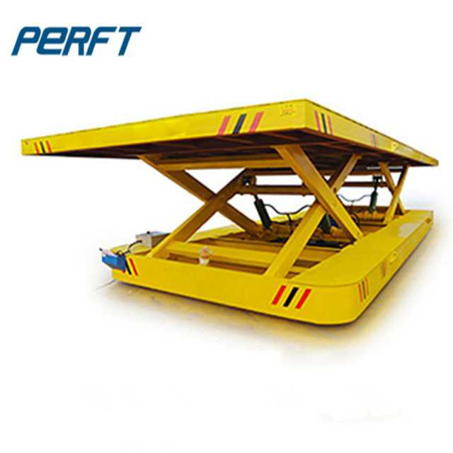 Hydraulic lifting coil rail transfer car for factory steel coils transportation
