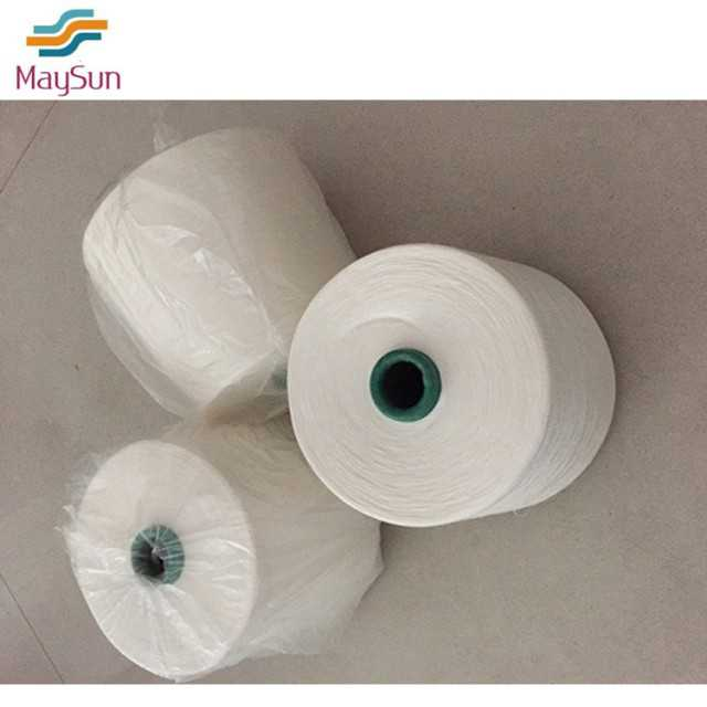 Spun polyester yarn for knitting and sewing