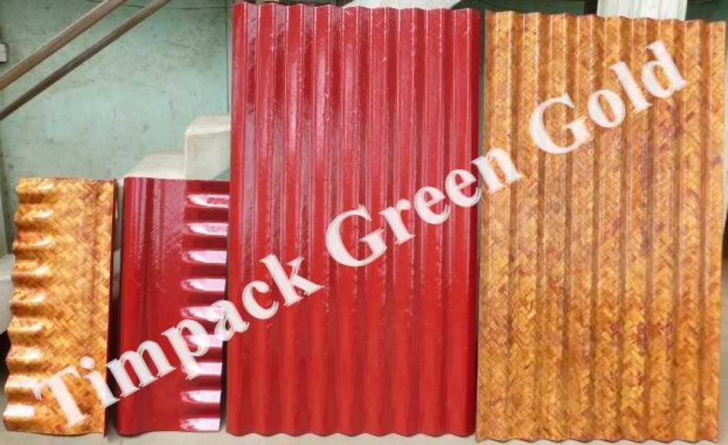 Bamboo Mat Corrugated Sheet