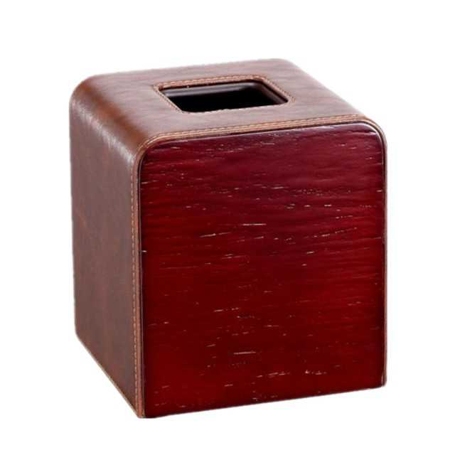 Square PU leather tissue box for hotel