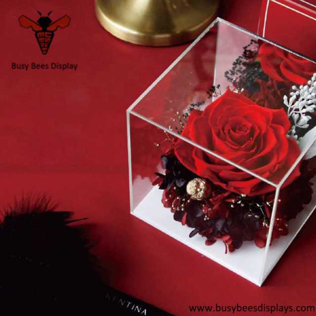 Acrylic rose flower packaging holder