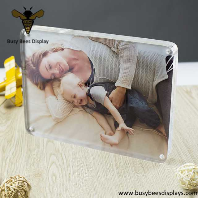 img 1 clear acrylic magnetic photo or placard holder frame