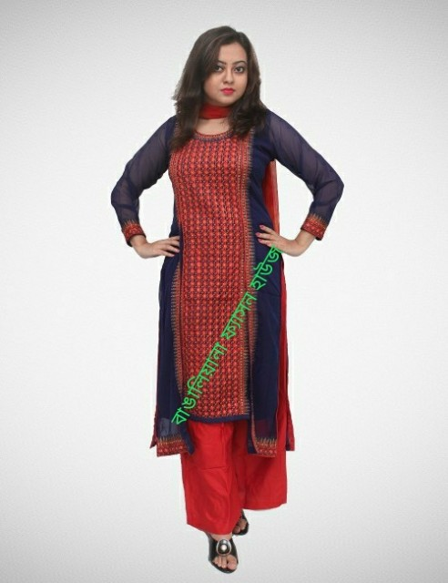 Navy Blue Color Embroidered Three Piece With Long Koti