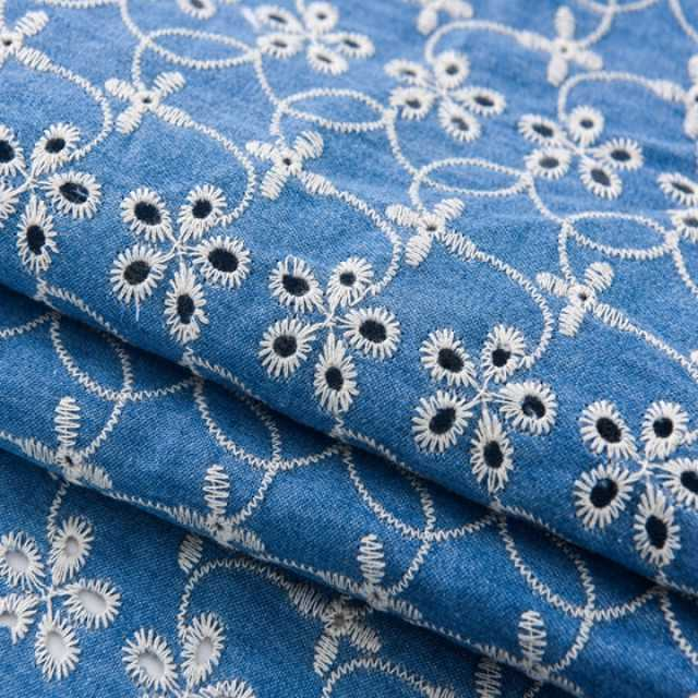 Fabrics embroidery 100  cotton nylon lace white embroidered fabric