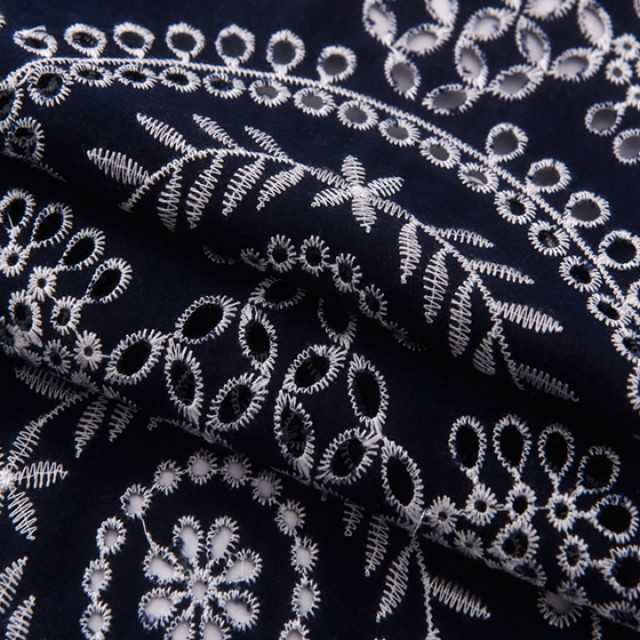 hollow out  white cotton fabric embroidered lace