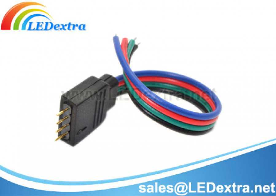 dtx 05 rgb led strip 4 pin male connector cable