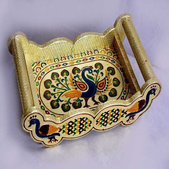 Peacock  Design Golden Meenakari Tray