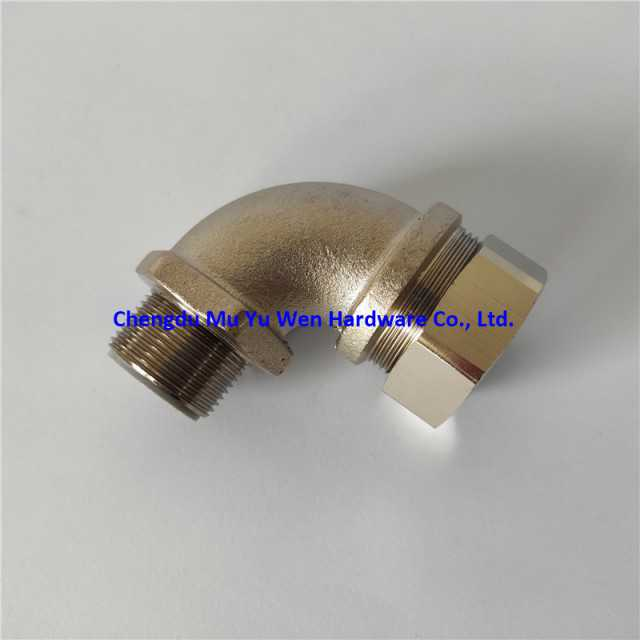 Brass 90 degree conduit fittings with sealing washers and lock nuts