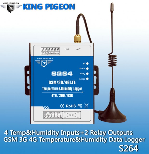 S264 GSM/3G/4G Temp&Humidity Monitoring(4T&H+2DO)