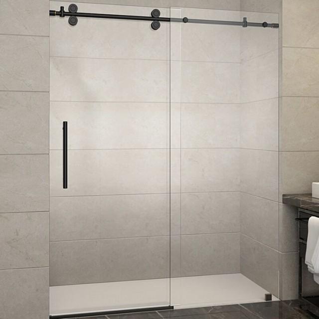Frameless commercial hotel 10mm clear tempered glass sliding shower do