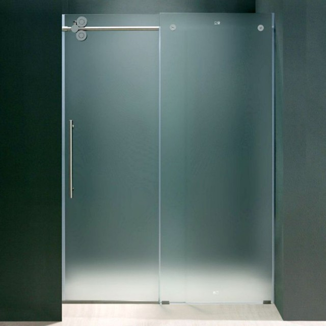 Frameless commercial hotel shower frosted glass partition bathroom gla