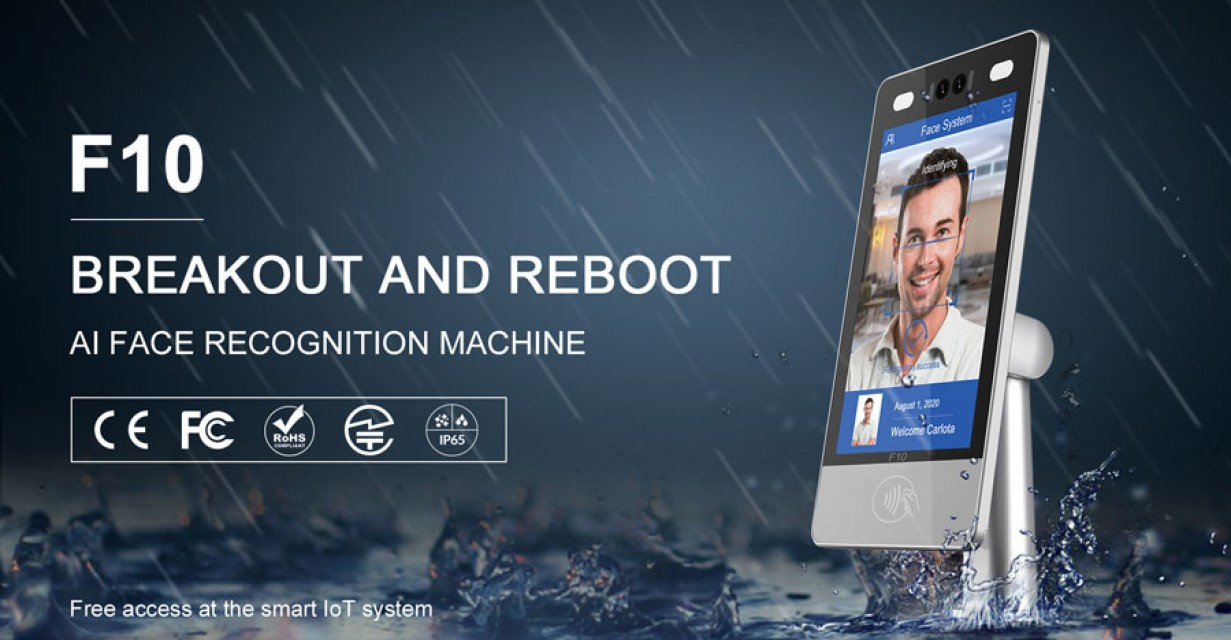F10 facial recognition terminal for access control & time attendance.