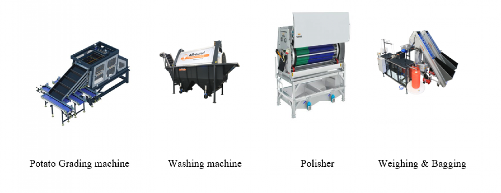 Vegetable processing Line. (Potato grading, washing, drying & more)