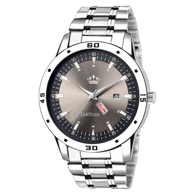 LimeStone Quartz Analog Metal Strap Wrist Watch for Men