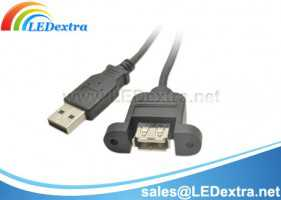 USB Micro-B Panel Mount Extension Cable M-F