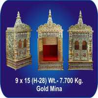 Wooden  Handwork Golden Meenakari Temple