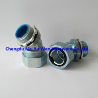 Zinc alloy 45d elbow liquid tight connector for metal flexible conduit