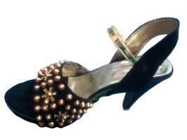 Black Bead Golden Velvet Fancy Ladies Sandal