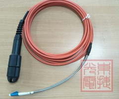 2F CPRI patch cord, FTTA, orangeLSZH, 5m, with PDLC housing, armore