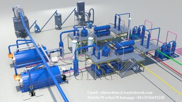 Waste plastic recycling to oil pyrolysis plant