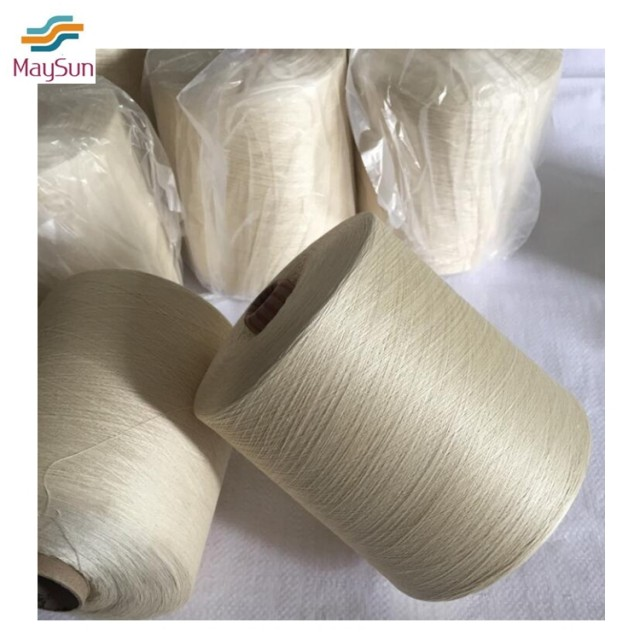 Raw white polyester ring spun yarn