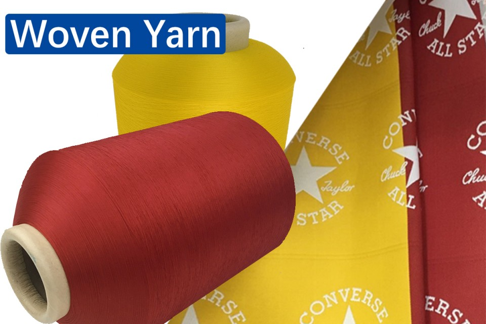 Recycled polyester yarn for woven, knitting
