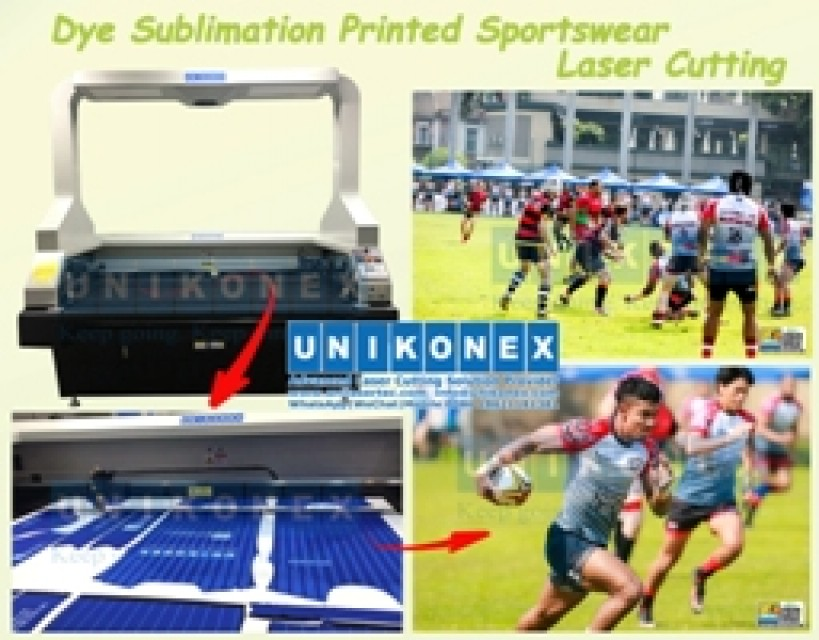 Sublimation printed sportswear laser cutting by Unikonex