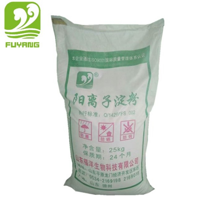 Cationic starch as paper pulp additive for improving the quality of paper pulp