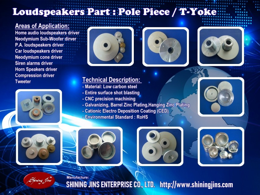 Pole piece (T-Yoke) for Loudspeakers driver made in Taiwan