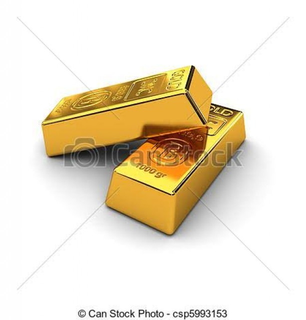Gold bars and Gemstones
