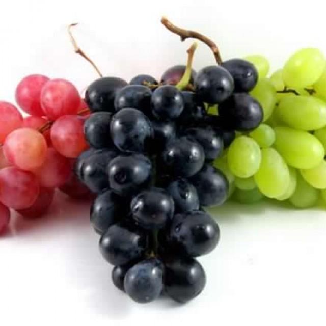 fresh red, black, green, grape fruits