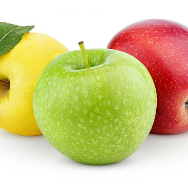 fresh red, yellow, green, black apple fruits