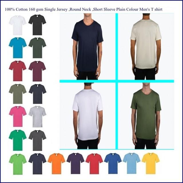 100% Cotton solid color round neck short sleeve men's t shirt
